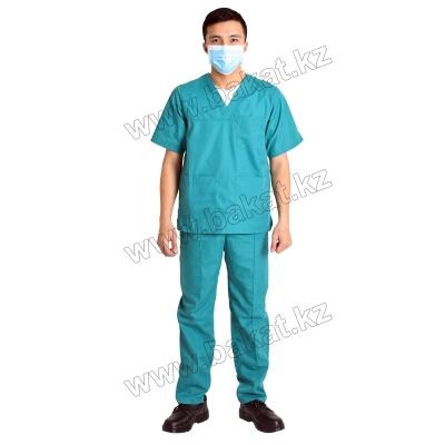 Хирургический костюм зелений